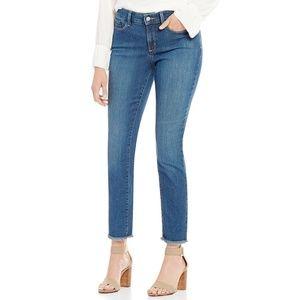 NYDJ Alina Frayed Hem Ankle Jeans Lift Tuck